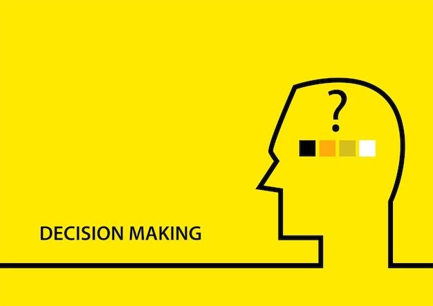 Illustration vectorielle plane simple du symbole de prise de décision