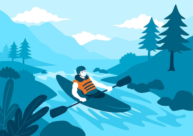 Illustration vectorielle plane simple de kayak homme