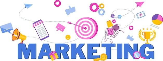 Illustration vectorielle plane de typographie marketing. stratégie, gestion.