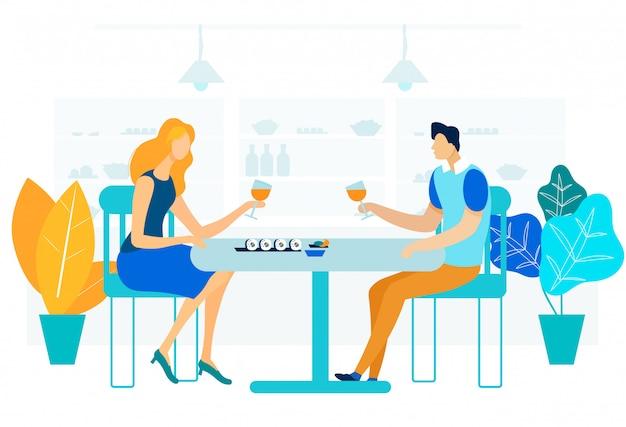 Illustration vectorielle plat dîner gastronomique romantique