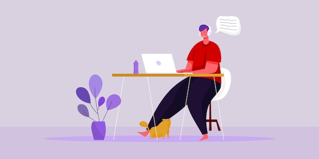 Illustration vectorielle à plat travail à partir du concept de lieu de travail à domicile et travail intelligent d'entreprise en ligne se connecter n'importe où concept