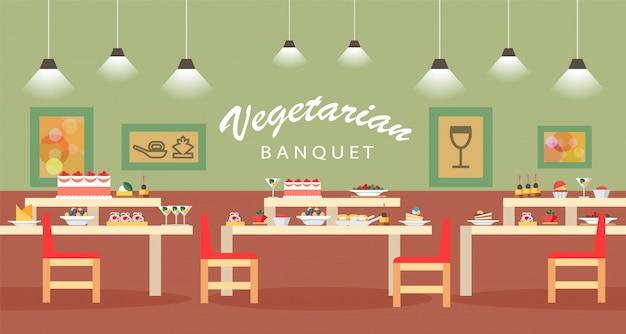 Illustration vectorielle plat végétarien banquet hall