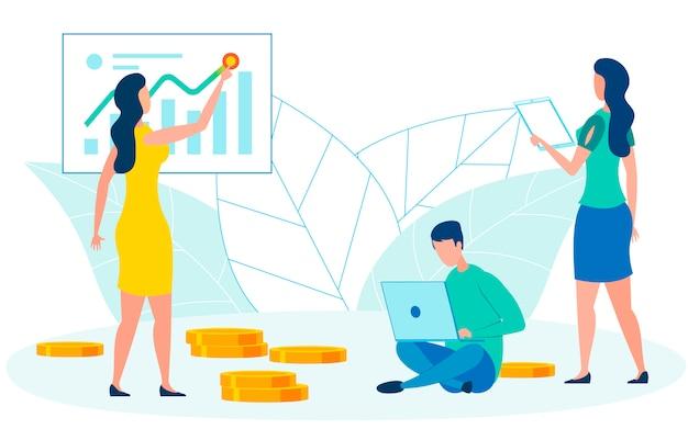 Illustration vectorielle plate de comptables de coopération