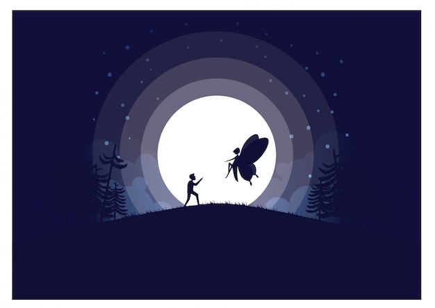 Illustration vectorielle de pleine lune fond