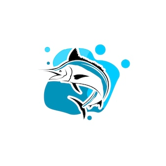 Illustration vectorielle de poisson marlin amusant de pêche