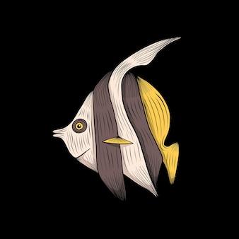 Illustration vectorielle de poissons exotiques colorés