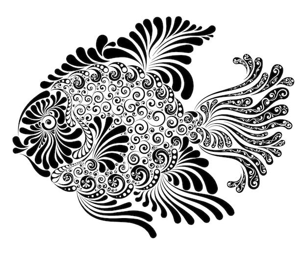 Illustration vectorielle de poissons d'ornement avec des nageoires luxuriantes