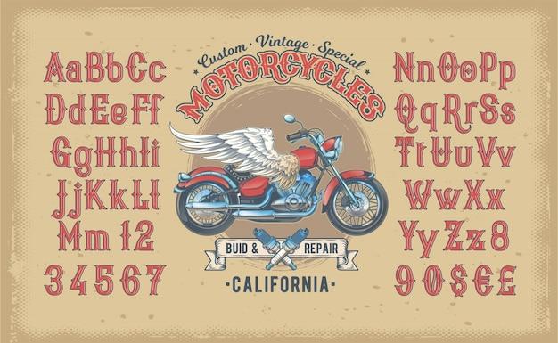 Illustration vectorielle d'une police vintage rouge, l'alphabet latin avec une moto personnalisée rétro