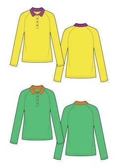 Illustration vectorielle de polo jaune et vert féminin. croquis vectoriel avant et arrière, ensemble de deux chemises