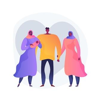 Illustration vectorielle de polygamie concept abstrait. marier plusieurs conjoints, polygamie, sexe de mariage en groupe, triangle amoureux, trio, confiance familiale, amis amoureux, métaphore abstraite du statut juridique.