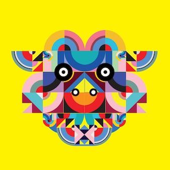 Illustration vectorielle polygonale tête de vache