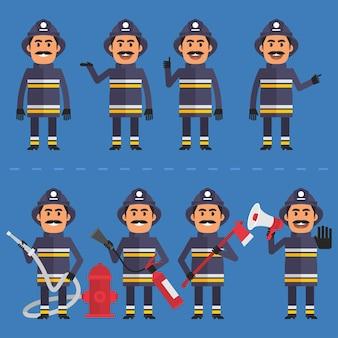 Illustration vectorielle, pompier dans diverses poses, format eps 10.