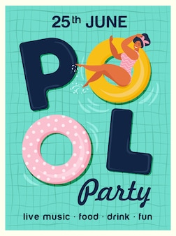 Illustration vectorielle de pool party invitation. vue de dessus de la piscine avec des flotteurs de piscine.