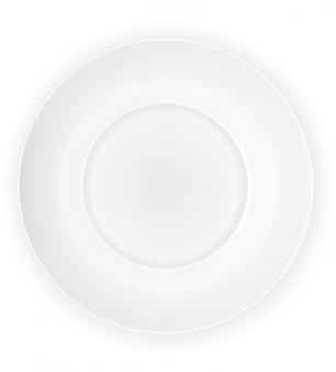 Illustration vectorielle de porcelaine plaque blanche vue de dessus