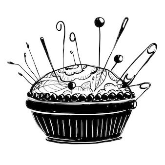 Illustration vectorielle de porte-aiguille à l'encre croquis dessinés à la main doodle conception de passe-temps de couture