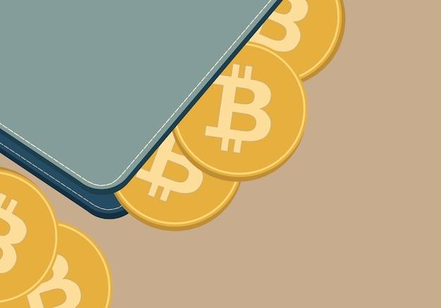 Illustration vectorielle de portefeuille de crypto-monnaie et pièce avec symbole de crypto-monnaie