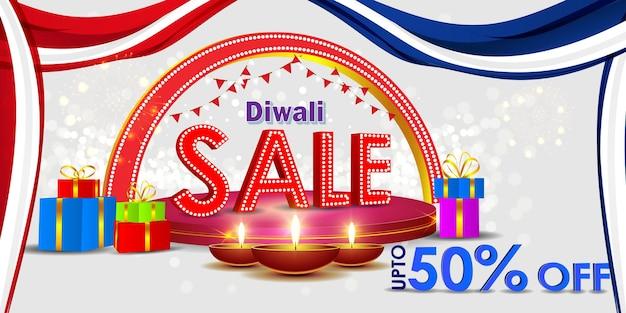 Illustration vectorielle pour la bannière de vente diwali festive season