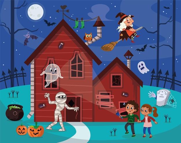 Illustration vectorielle pour les enfants dans le thème d'halloween