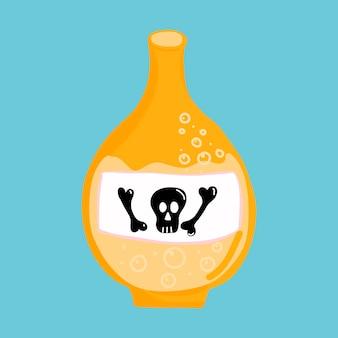 Illustration vectorielle pour halloween, une bouteille jaune avec du poison et une étiquette avec un crâne.