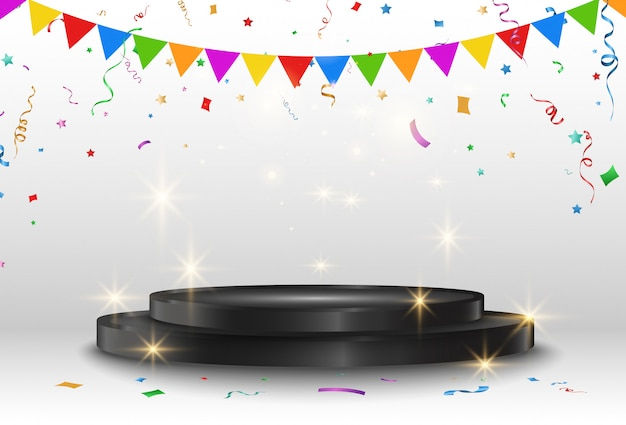 Illustration vectorielle pour les lauréats. piédestal ou plateforme pour honorer les lauréats.