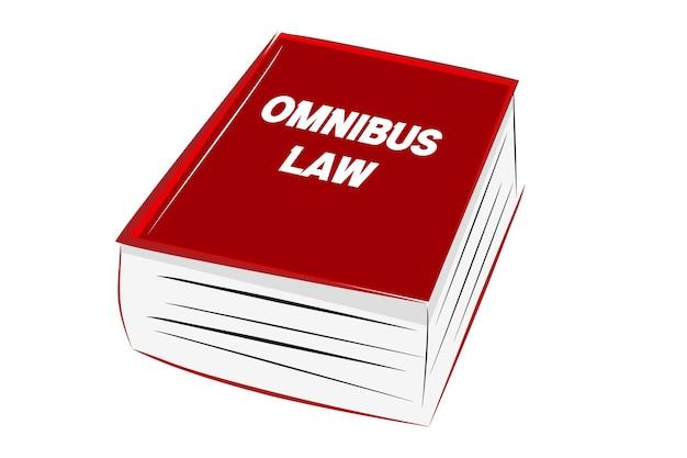 Illustration vectorielle pour la loi omnibus, alphabet bleu au cube en plastique, gros livre de croquis à la main rouge, à avec arrière-plan