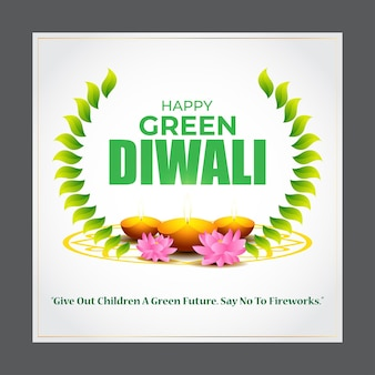 Illustration vectorielle pour la salutation happy green diwali