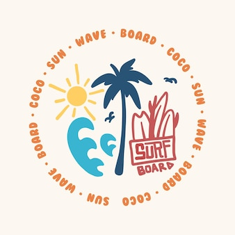 Illustration vectorielle pour les t-shirts et autocollants de sports de surf