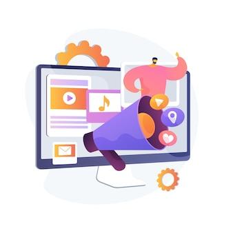 Illustration vectorielle de pr numérique concept abstrait. stratégie de relations publiques basée sur internet, gestion de la réputation, autorité de domaine, notoriété de la marque, présence de marques, métaphore abstraite d'une campagne de marketing numérique.