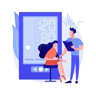 Illustration vectorielle de pression artérielle dépistage concept abstrait. installation de dépistage en pharmacie, auto-contrôle de la pression artérielle, examen clinique, service de soins de santé, métaphore abstraite du programme de test.