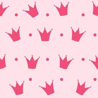 Illustration vectorielle de princesse couronne transparente motif de fond.