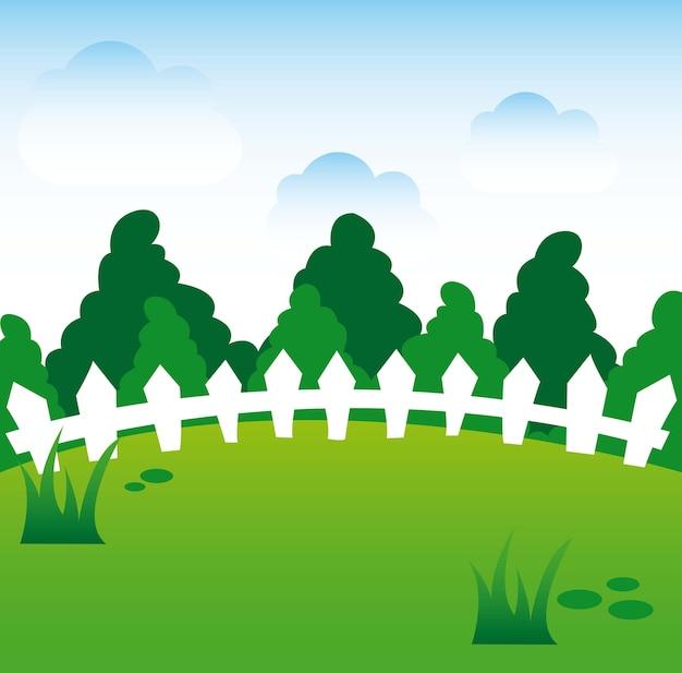 Illustration vectorielle de printemps bande dessinée paysage fond