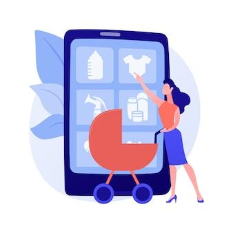 Illustration vectorielle de produits de soins de maternité concept abstrait. produits spéciaux de maternité, cosmétiques naturels sains, produits de soins propres pour les femmes enceintes, métaphore abstraite du traitement de la peau du nouveau-né.