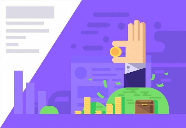 Illustration vectorielle de profit argent