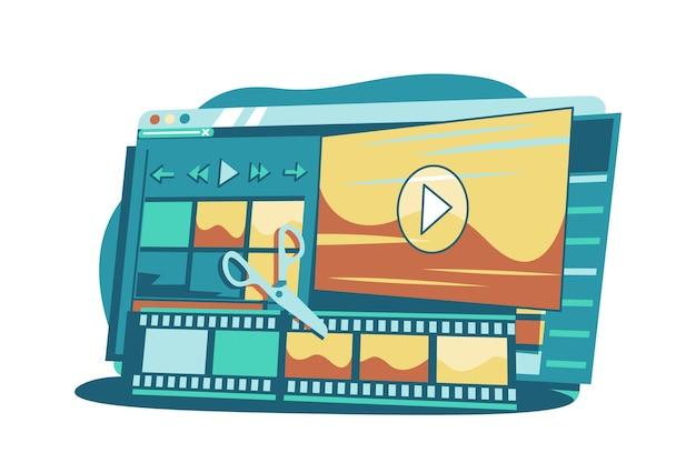 Illustration vectorielle de programme d'interface de composition vidéo. application informatique pour créer et corriger le style plat du matériel vidéo. concept de créativité. isolé