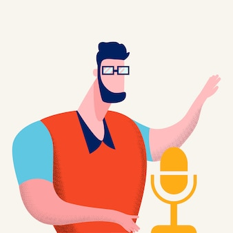 Illustration vectorielle de programme de podcasting internet