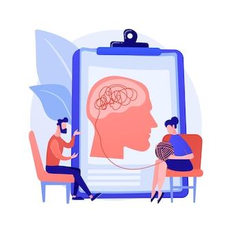 Illustration vectorielle de psychothérapie concept abstrait. intervention non pharmacologique, conseil verbal, service de psychothérapie, thérapie cognitive comportementale, métaphore abstraite en séance privée.