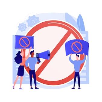 Illustration vectorielle de public backlash concept abstrait. réaction du public, préjugés et discrimination, droits des minorités, protestation de groupe, médias sociaux, harcèlement sexuel, métaphore abstraite indignée par les gens.