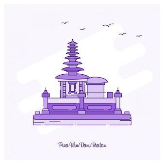 Illustration vectorielle de pura ulun danu bratan landmark ligne pointillée violette skyline