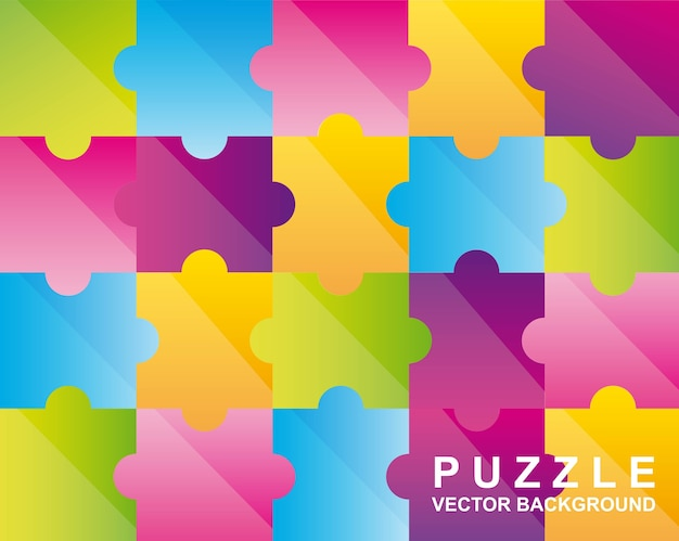 Illustration vectorielle de puzzles colorés fond