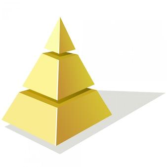 Illustration vectorielle de la pyramide dorée sur fond blanc