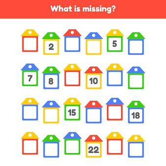 Illustration vectorielle. quel est le numéro manquant. feuille de travail pour les enfants de la maternelle. âge préscolaire et scolaire. maisons de couleur.