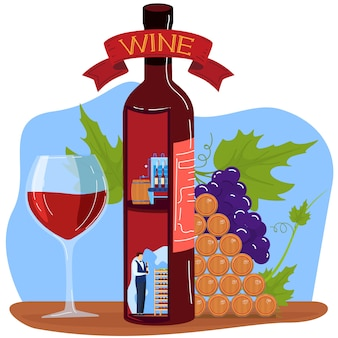 Illustration vectorielle de raisin vin produit.