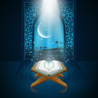 Illustration vectorielle de ramadan kareem avec al coran.