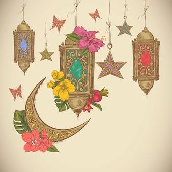 Illustration vectorielle de ramadan kareem dessinés à la main