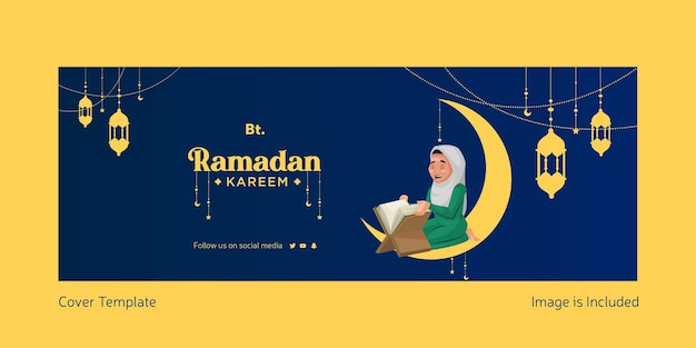 Illustration vectorielle de ramadan kareem de la page de couverture facebook en style cartoon eid mubarak