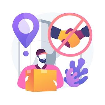 Illustration vectorielle de ramassage et de livraison sans contact. livraison sûre de virus, service de transport protégé, transformation commerciale covid-19, métaphore abstraite de commande d'épicerie en ligne.