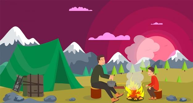 Illustration vectorielle randonnée avec feu de joie.