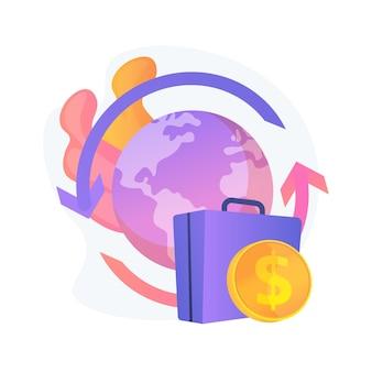 Illustration vectorielle de rapatriement subvention concept abstrait. salaire et indemnité, déménagement à l'étranger, retour dans le pays d'origine, rapatriement, intégration du migrant, accepter la métaphore abstraite de l'offre d'emploi.