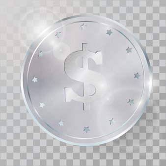 Illustration vectorielle réaliste 3d pièce d'argent