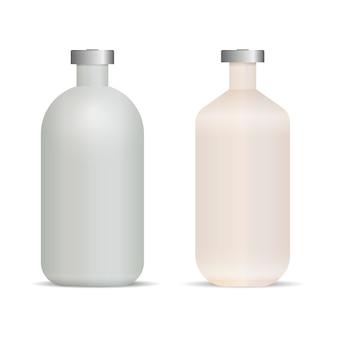 Illustration vectorielle réaliste de bouteilles de vaccin couvercle